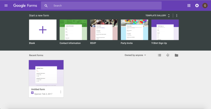 Survey tools: google forms